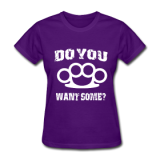 Brass Knuckles White on Purple Women's T-shirt