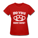 Brass Knuckles White on Red Women's T-shirt